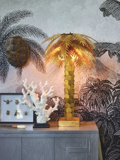 HK LIVING MESSING PALM TAFELLAMP GOUD 45X45X68CM | Wants&Needs