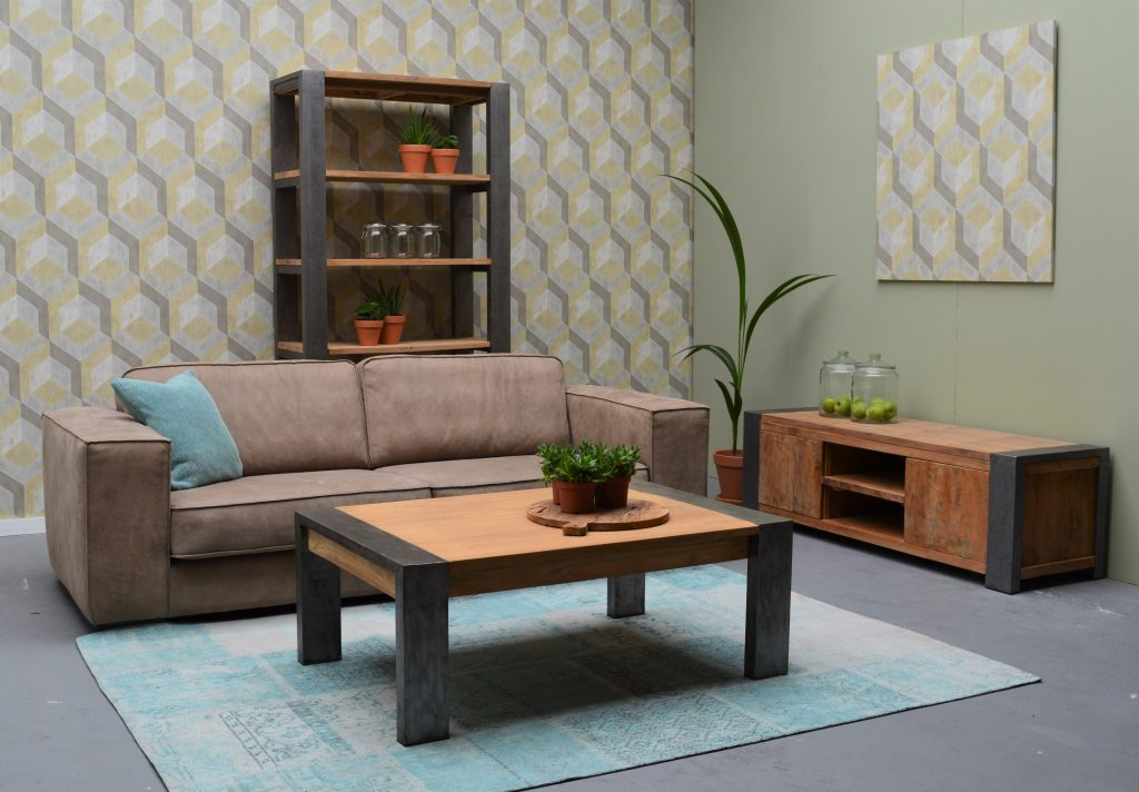 Salontafel Industrial Teakhout Metaal 50 x 120 x 80 Livingfurn